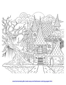 Adult Halloween Coloring Pages Spooky House 7spk