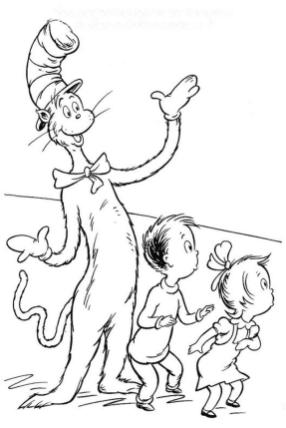Cat In The Hat Coloring Pages Dr. Seuss Printable for Kids 336x