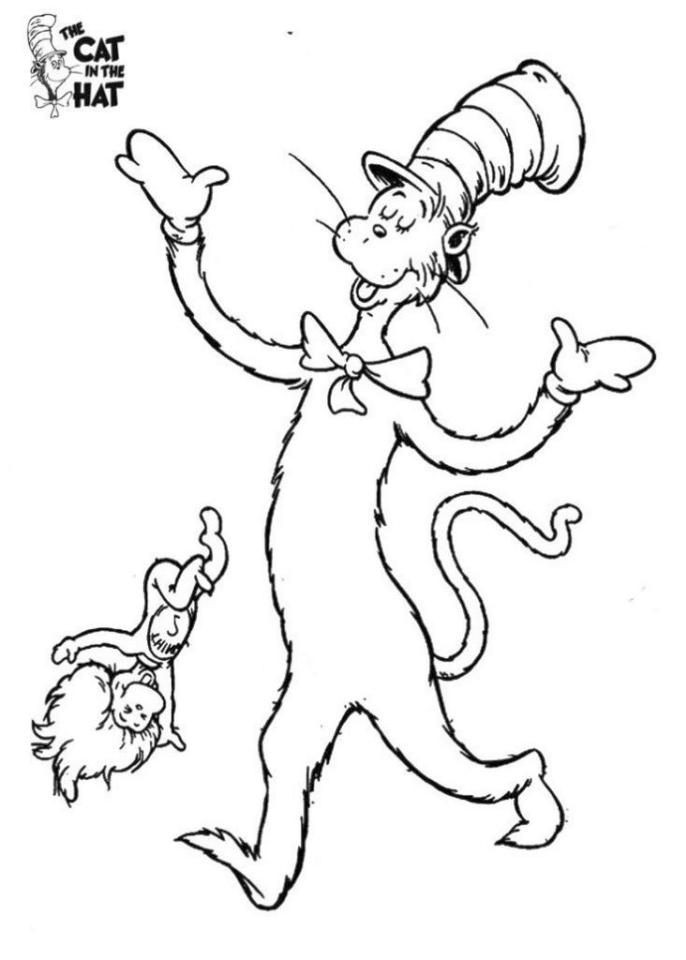 Cat In The Hat Coloring Pages Printable 5frc