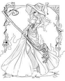 Halloween Coloring Page For Adults Beautiful Witch 4btw
