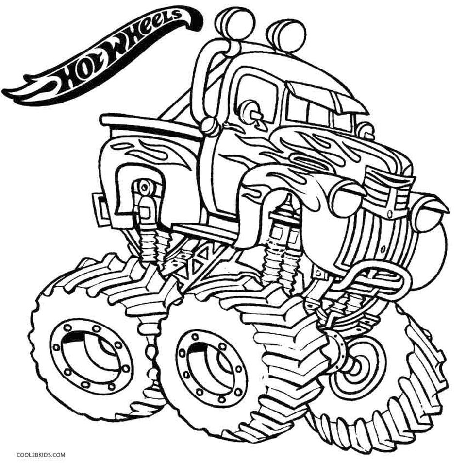 Hot Wheels Coloring Pages Free for Kids Monster Truck 3mst