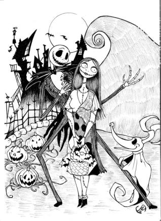 Nightmare Before Christmas Coloring Pages Free bhn4