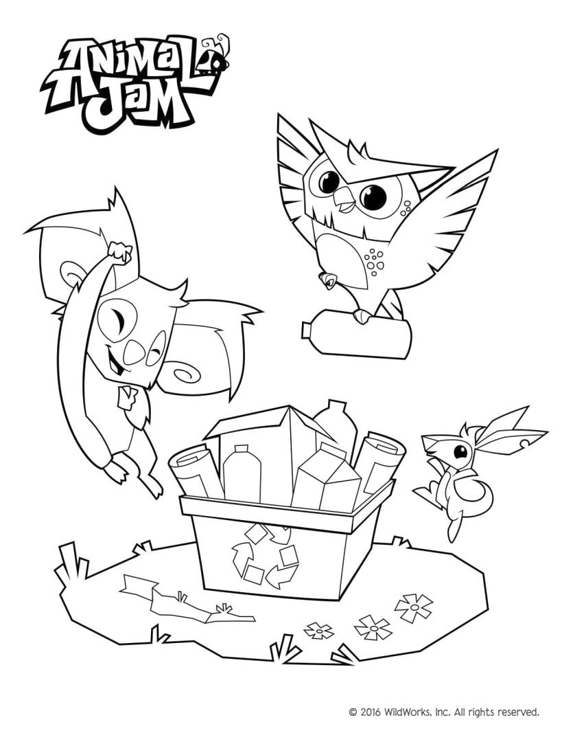 Recycling Animal Jam Coloring Pages Free 5rcy