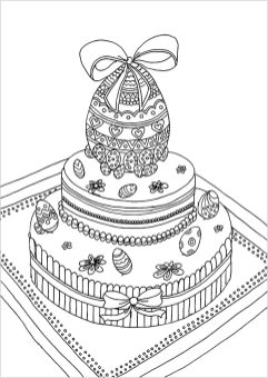 Adult Easter Coloring Pages Cake with Easter Egg on Top