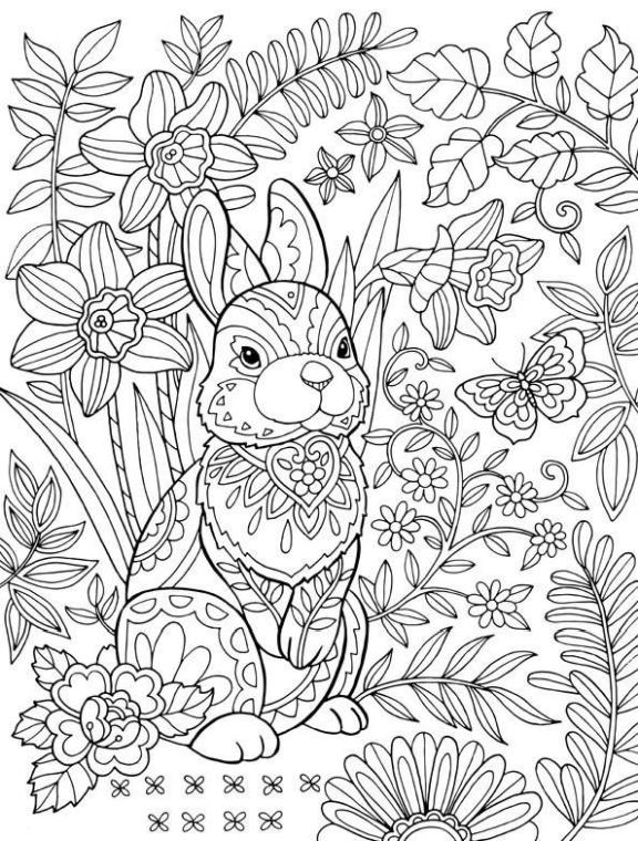Get This Adult Easter Coloring Pages Difficult Easter Bunny !