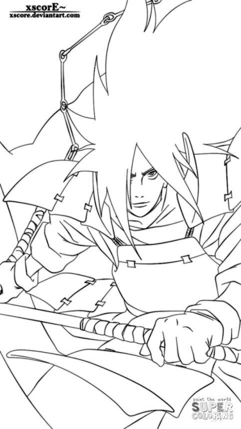 Anime Coloring Pages Madara Uchiha from Naruto