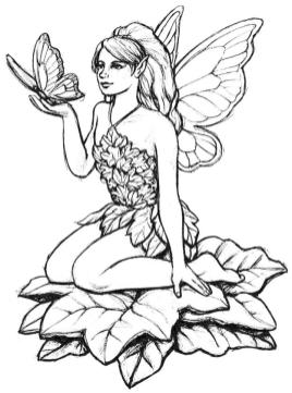 Beautiful Fairy and Butterfly Coloring Pages for Adults ct6