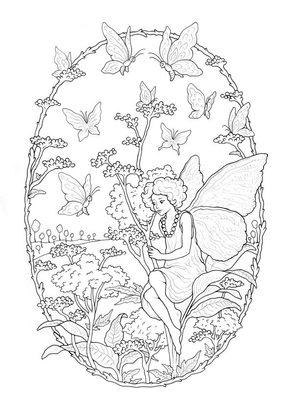 Fairy and Butterflies Coloring Pages for Adults hd5