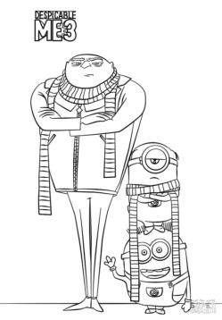 Gru and Minion from Despicable Me 3 Coloring Pages