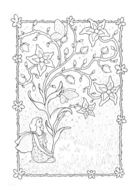 Lavender Fairy Coloring Page for Adults fv4