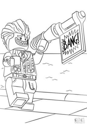 Lego Batman Coloring Pages Joker Smiling Widely