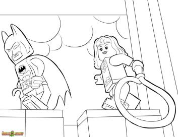 Lego Batman Coloring Pages Lego Batman and Wonder Woman