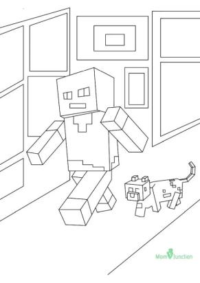 Minecraft Coloring Pages Steve and Alex Walking
