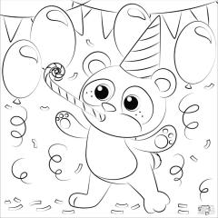 Panda Coloring Pages for Birthday