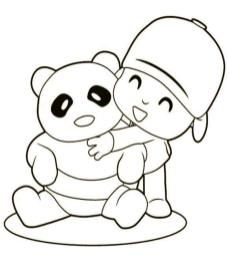 Panda Doll and a Boy Coloring Pages
