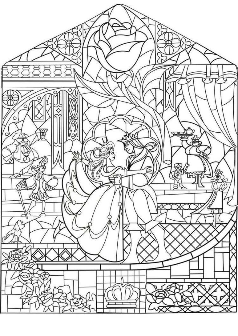 Adult Coloring Pages Disney Beauty and the Beast Coloring for Adults