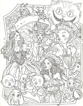 Adult Coloring Pages Disney Disney Alice in Wonderland Complex Drawing