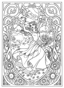 Adult Coloring Pages Disney Disney Belle Coloring for Grown Ups