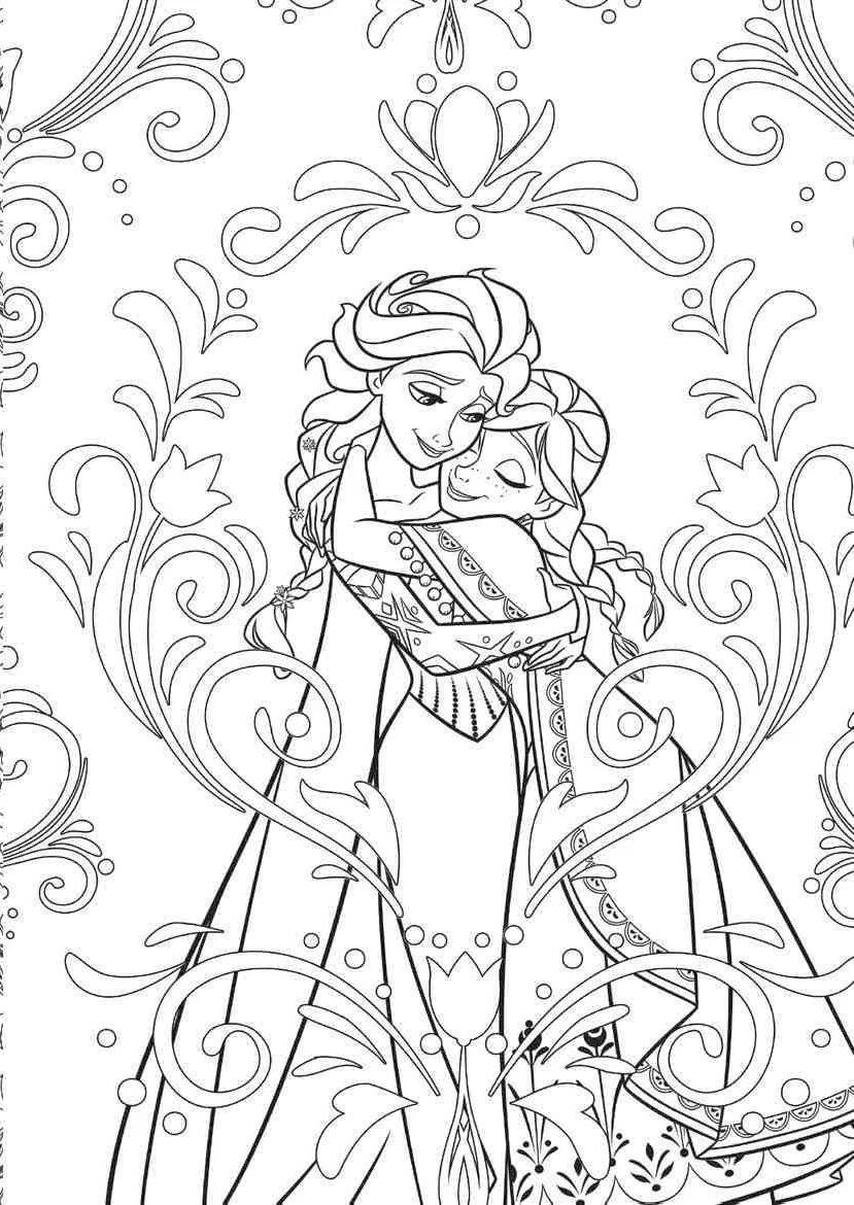 Adult Coloring Pages Disney Disney Frozen Elsa and Anna Complex Drawing