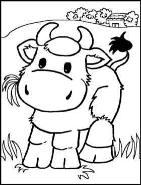 Cow Coloring Pages Printable Little Cartoon Cow for Preschoolers