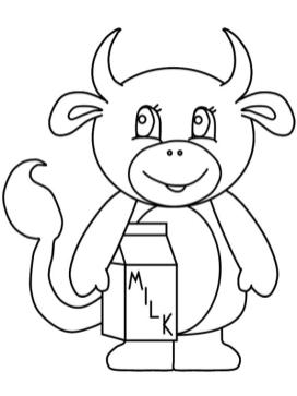 Cow Coloring Pages for Preschoolers Cartoon Cow Holding a Box of Milk