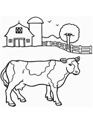 Cow Coloring Pages for Preschoolers Simple Cow Drawing in a Farm
