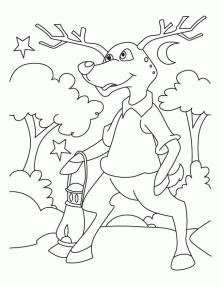 Deer Coloring Pages Online Cartoon Deer Standing Up