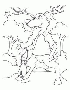 Deer Coloring Pages Online Cartoon Deer Standing Up