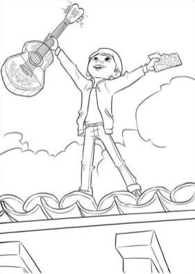 Disney Coco Coloring Pages Printable Miguel Looks so Happy