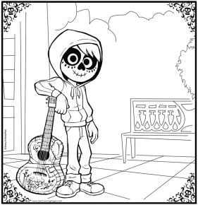 Disney Coco Coloring Pages Printable Miguels Mask