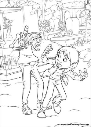 Disney Coco Coloring Pages for Kids Coco running away