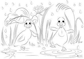 Duck Coloring Pages Happy Baby Ducks Dancing in the Rain