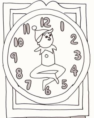 Elf on the Shelf Coloring Pages Free Elf on the Shelf Clock Printable