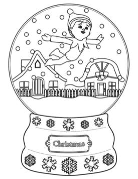 Elf on the Shelf Coloring Pages Free Elf on the Shelf in a Snow Bubble