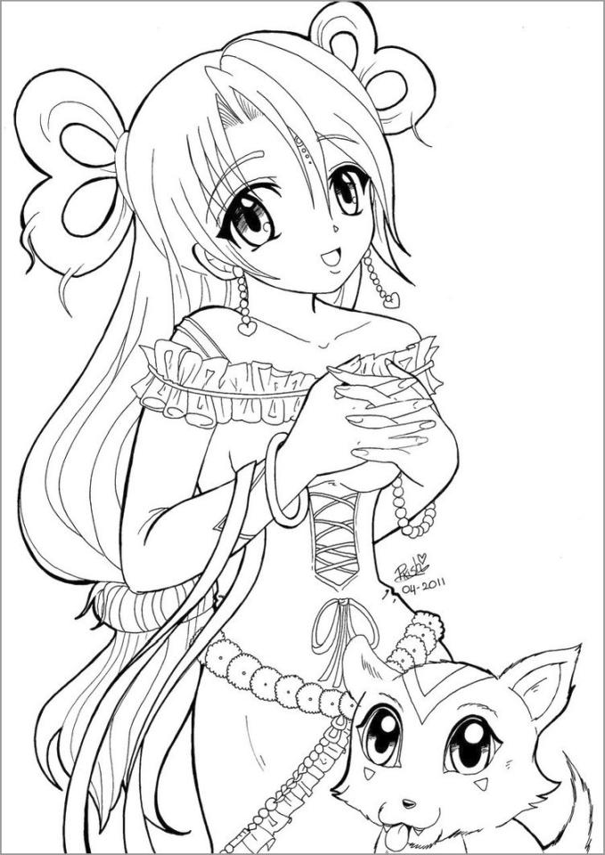 20 Free Printable Anime Girl Coloring Pages Everfreecoloring Com
