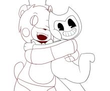 Free Printable Bendy and The Ink Machine Coloring Pages Freddy and Bendy Hugging