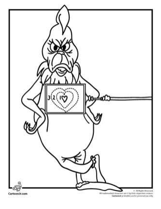 Grinch Coloring Pages Printable Grinch Has Very Small Heart