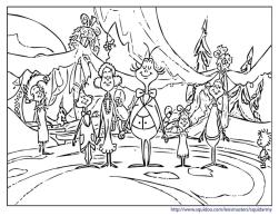 Grinch Coloring Pages for Adults Grinch Praying with Citizens of Whoville