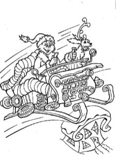 Grinch and Max Coloring Pages Grinch Riding a Sled with His Dog