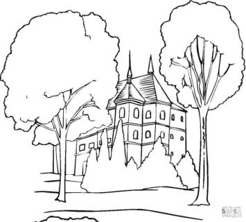 House Coloring Pages Big Old Mansion