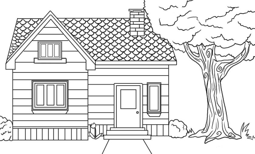 House Coloring Pages Free A House Next to a Big Tree