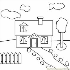 House Coloring Pages Free Plain and Simple House Drawing