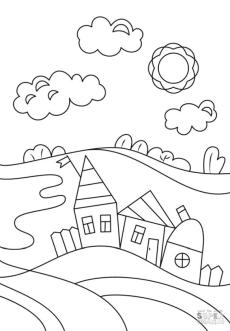 House Coloring Pages Simple House Drawing for Preschoolers