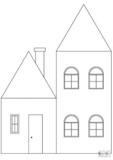 House Coloring Pages Simple House Printable for Kids
