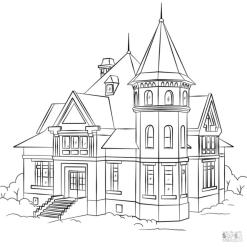 House Coloring Pages Victorian Style