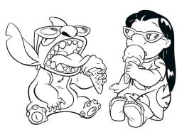 Lilo and Stitch Coloring Pages Lilo and Stitch Eating Ice Cream