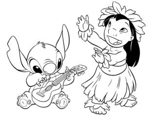 Lilo and Stitch Coloring Pages Stitch Playing Ukulele and Lilo Dancing