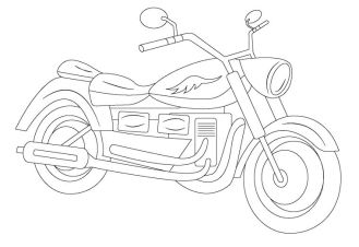 Motorcycle Coloring Pages Easy Big Engine Cruiser Bike