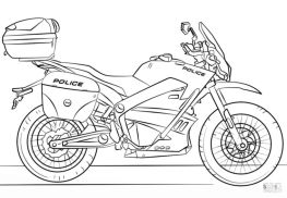 Motorcycle Coloring Pages Police Motorcycle