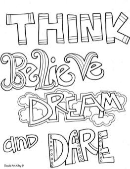Quote Coloring Pages Easy Think Believe Dream and Dare
